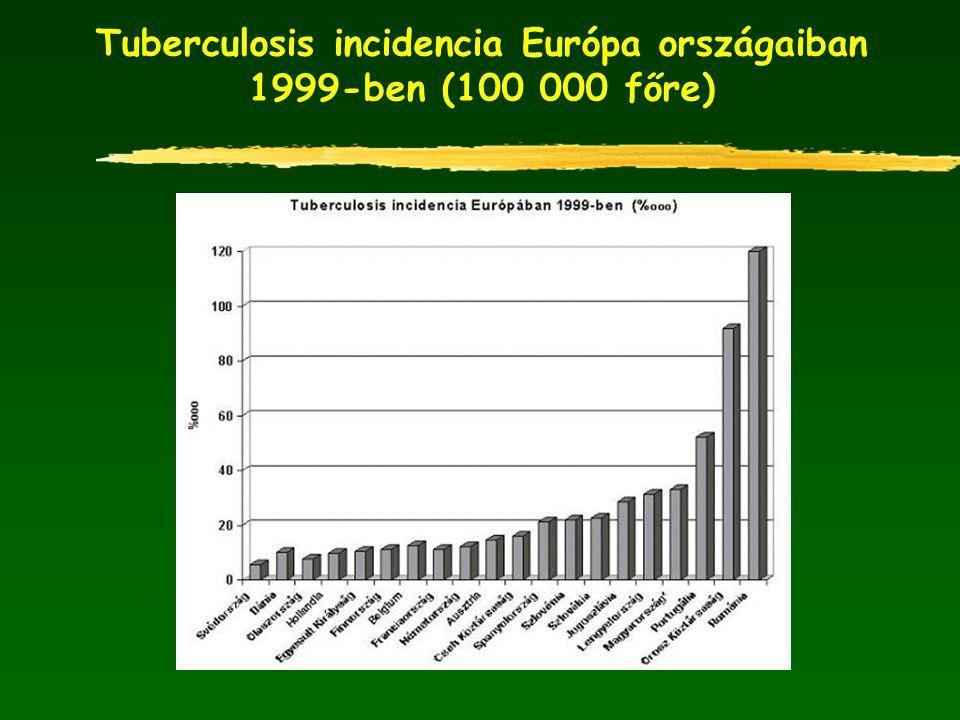 Tuberculosis incidencia Európa országaiban 1999-ben (100 000 főre)