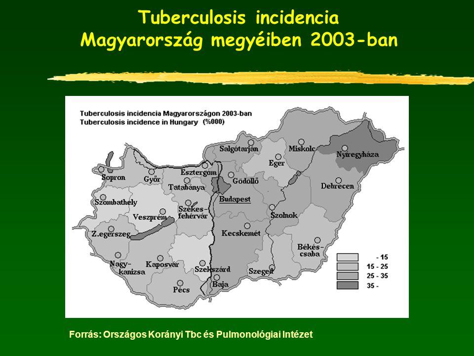 Tuberculosis incidencia Magyarország megyéiben 2003-ban Forrás: Országos Korányi Tbc és Pulmonológiai Intézet