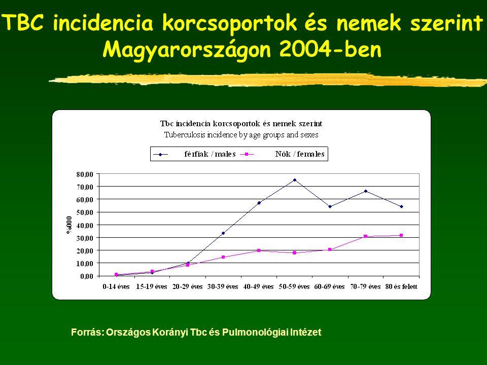 TBC incidencia korcsoportok és nemek szerint Magyarországon 2004-ben
