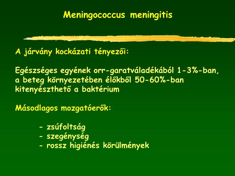 Meningococcus meningitis A járvány kockázati tényezői: Egészséges egyének orr-garatváladékából 1-3%-ban, a beteg környezetében élőkből 50-60%-ban kite