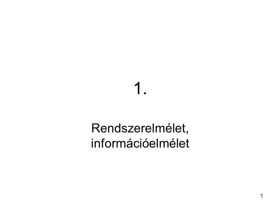 1 1. Rendszerelmélet, információelmélet