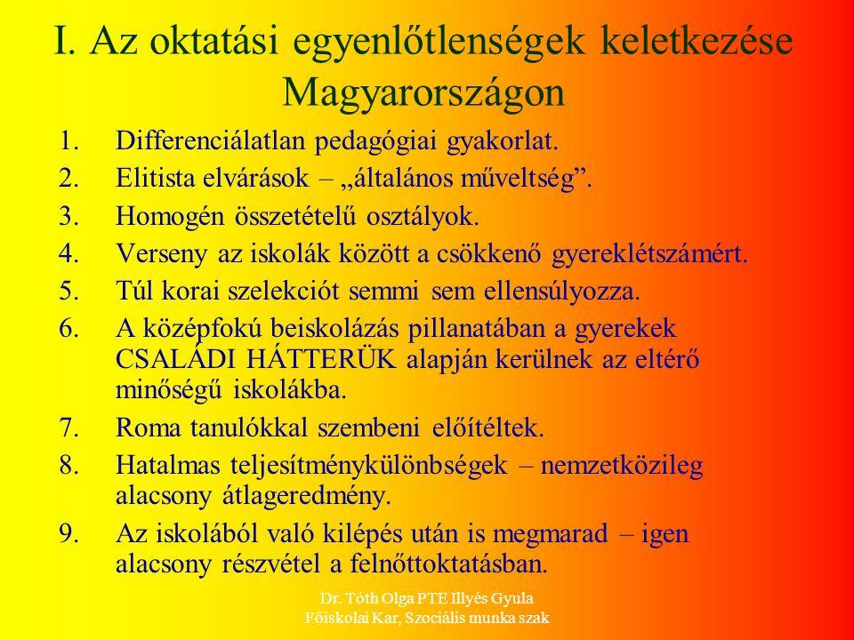 Dr. Tóth Olga PTE Illyés Gyula Főiskolai Kar, Szociális munka szak I. Az oktatási egyenlőtlenségek keletkezése Magyarországon 1.Differenciálatlan peda