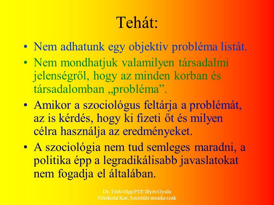 Dr. Tóth Olga PTE Illyés Gyula Főiskolai Kar, Szociális munka szak Tehát: Nem adhatunk egy objektív probléma listát. Nem mondhatjuk valamilyen társada