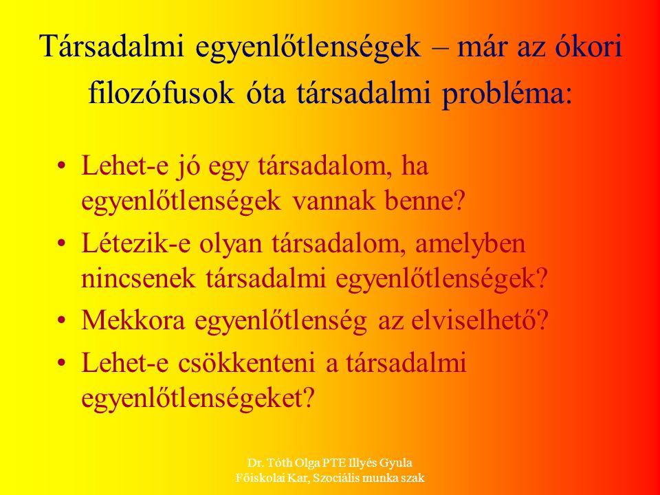 Dr. Tóth Olga PTE Illyés Gyula Főiskolai Kar, Szociális munka szak Társadalmi egyenlőtlenségek – már az ókori filozófusok óta társadalmi probléma: Leh