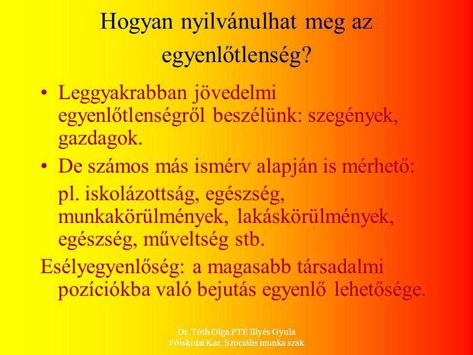 Dr. Tóth Olga PTE Illyés Gyula Főiskolai Kar, Szociális munka szak Hogyan nyilvánulhat meg az egyenlőtlenség? Leggyakrabban jövedelmi egyenlőtlenségrő