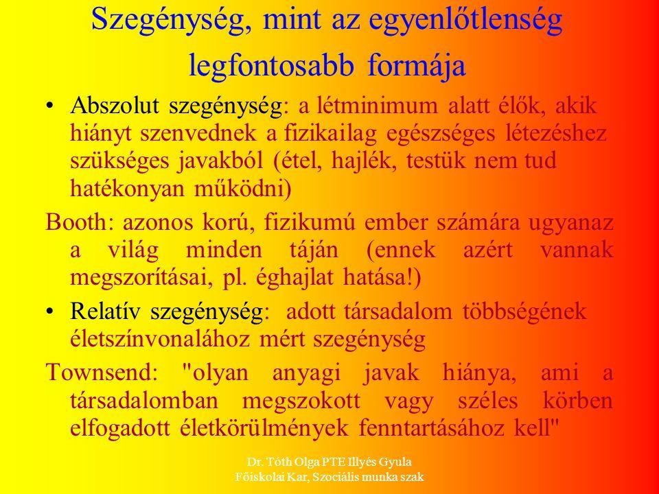 Dr. Tóth Olga PTE Illyés Gyula Főiskolai Kar, Szociális munka szak Szegénység, mint az egyenlőtlenség legfontosabb formája Abszolut szegénység: a létm