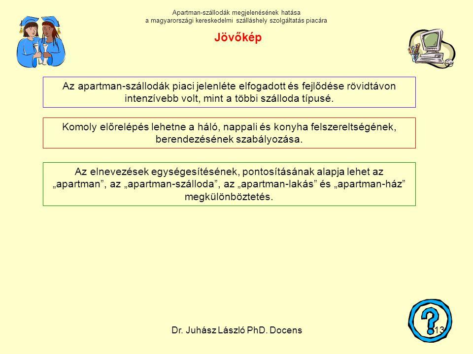 Dr. Juhász László PhD. Docens13 Komoly előrelépés lehetne a háló, nappali és konyha felszereltségének, berendezésének szabályozása. Az apartman-szállo