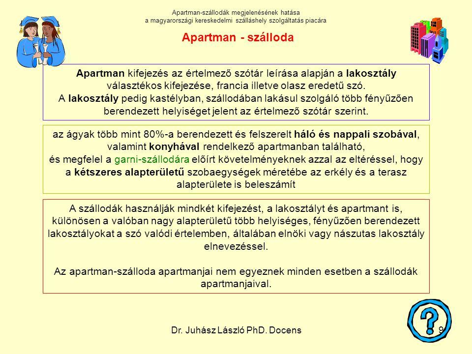 Dr. Juhász László PhD. Docens9 A szállodák használják mindkét kifejezést, a lakosztályt és apartmant is, különösen a valóban nagy alapterületű több he
