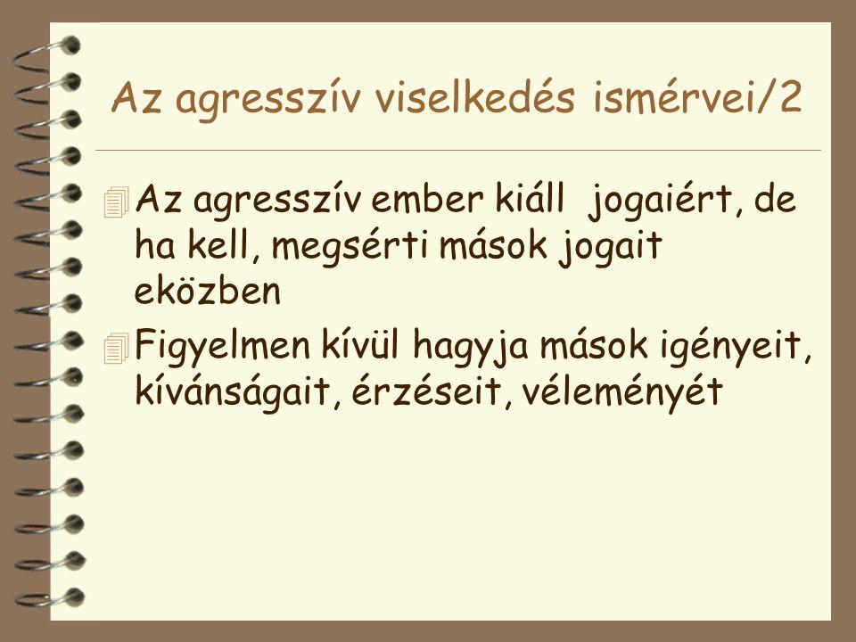 Az agresszív viselkedés ismérvei/2 4 Az agresszív ember kiáll jogaiért, de ha kell, megsérti mások jogait eközben 4 Figyelmen kívül hagyja mások igény