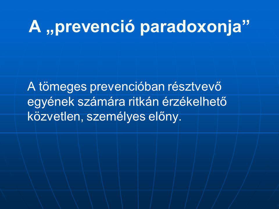 """A """"prevenció paradoxonja"""" A tömeges prevencióban résztvevő egyének számára ritkán érzékelhető közvetlen, személyes előny."""