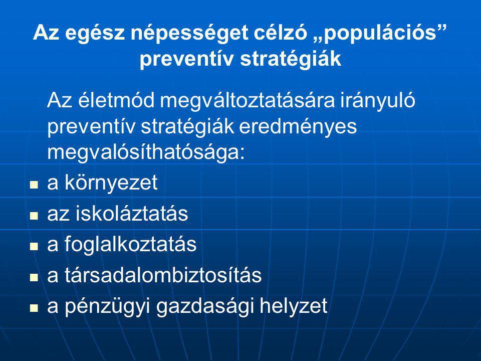 Az életmód megváltoztatására irányuló preventív stratégiák eredményes megvalósíthatósága: a környezet az iskoláztatás a foglalkoztatás a társadalombiz