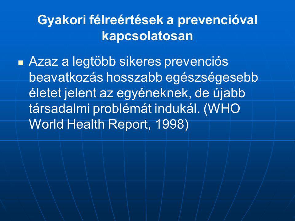 Azaz a legtöbb sikeres prevenciós beavatkozás hosszabb egészségesebb életet jelent az egyéneknek, de újabb társadalmi problémát indukál. (WHO World He