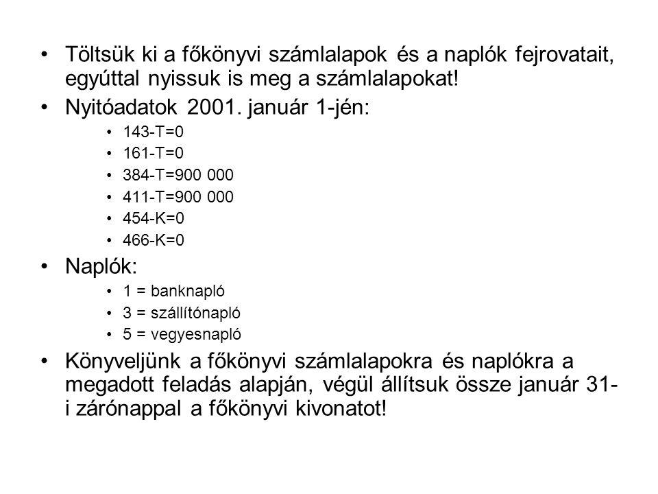 Töltsük ki a főkönyvi számlalapok és a naplók fejrovatait, egyúttal nyissuk is meg a számlalapokat! Nyitóadatok 2001. január 1-jén: 143-T=0 161-T=0 38