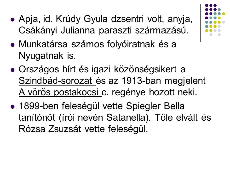 Apja, id. Krúdy Gyula dzsentri volt, anyja, Csákányi Julianna paraszti származású. Munkatársa számos folyóiratnak és a Nyugatnak is. Országos hírt és