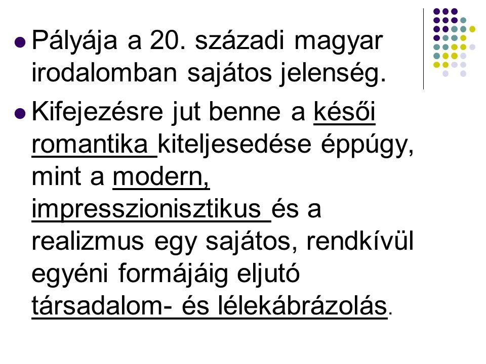 Pályája a 20. századi magyar irodalomban sajátos jelenség. Kifejezésre jut benne a késői romantika kiteljesedése éppúgy, mint a modern, impresszionisz