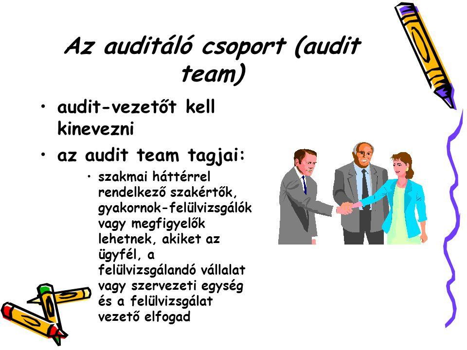Az auditáló csoport (audit team) audit-vezetőt kell kinevezni az audit team tagjai: szakmai háttérrel rendelkező szakértők, gyakornok-felülvizsgálók vagy megfigyelők lehetnek, akiket az ügyfél, a felülvizsgálandó vállalat vagy szervezeti egység és a felülvizsgálat vezető elfogad