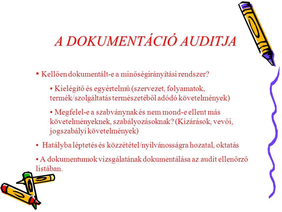 A DOKUMENTÁCIÓ AUDITJA Kellően dokumentált-e a minőségirányítási rendszer.
