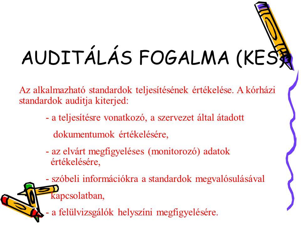 AUDITÁLÁS FOGALMA (KES) Az alkalmazható standardok teljesítésének értékelése.