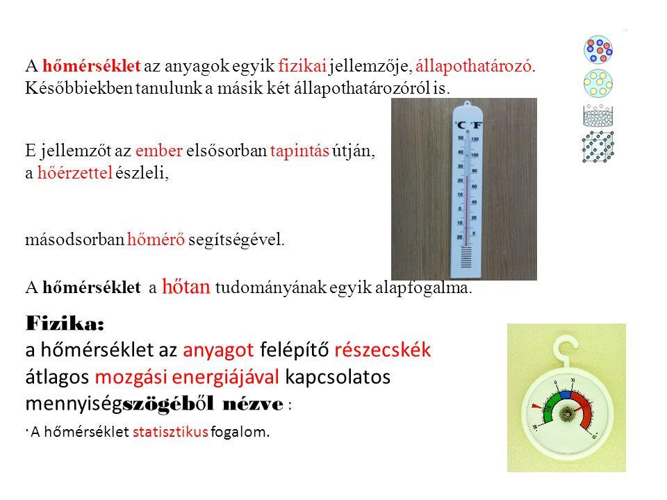 A hőmérséklet az anyagok egyik fizikai jellemzője, állapothatározó. Későbbiekben tanulunk a másik két állapothatározóról is. E jellemzőt az ember első