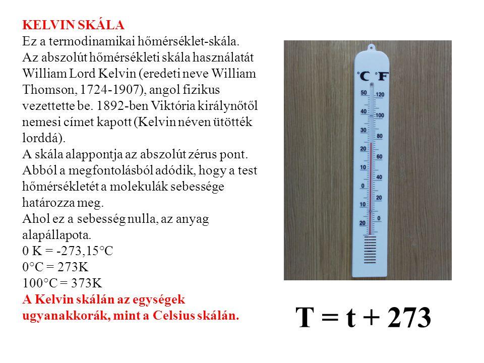 KELVIN SKÁLA Ez a termodinamikai hőmérséklet-skála. Az abszolút hőmérsékleti skála használatát William Lord Kelvin (eredeti neve William Thomson, 1724