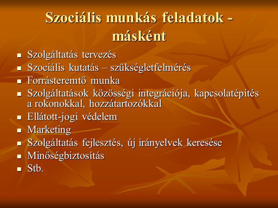 Szociális munkás feladatok - másként Szolgáltatás tervezés Szolgáltatás tervezés Szociális kutatás – szükségletfelmérés Szociális kutatás – szükséglet