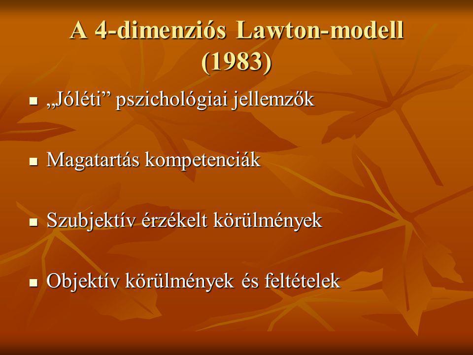 """A 4-dimenziós Lawton-modell (1983) """"Jóléti"""" pszichológiai jellemzők """"Jóléti"""" pszichológiai jellemzők Magatartás kompetenciák Magatartás kompetenciák S"""