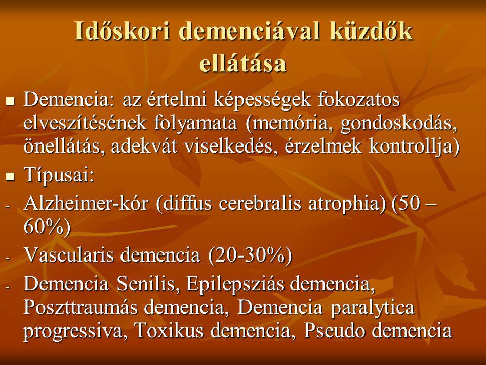 Időskori demenciával küzdők ellátása Demencia: az értelmi képességek fokozatos elveszítésének folyamata (memória, gondoskodás, önellátás, adekvát vise