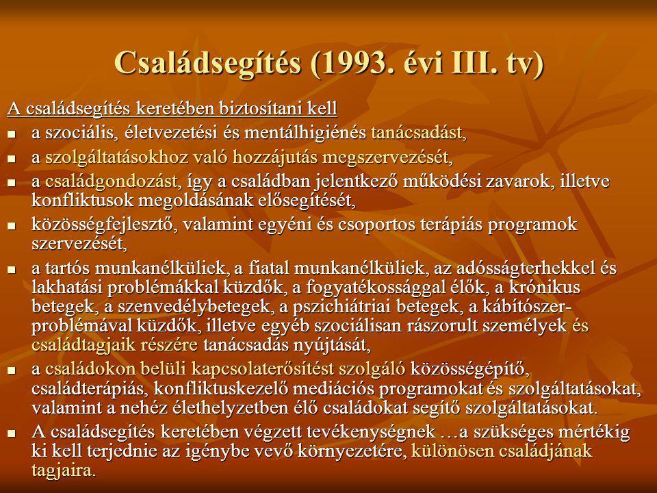 Családsegítés (1993. évi III. tv) A családsegítés keretében biztosítani kell a szociális, életvezetési és mentálhigiénés tanácsadást, a szociális, éle