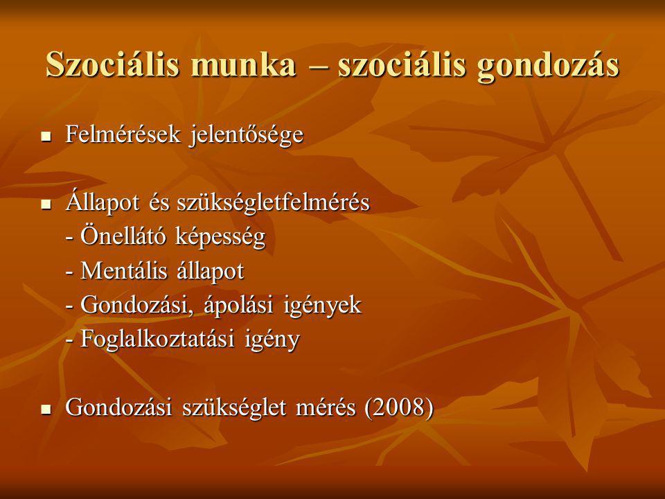 Időskori demenciával küzdők ellátása Demencia: az értelmi képességek fokozatos elveszítésének folyamata (memória, gondoskodás, önellátás, adekvát viselkedés, érzelmek kontrollja) Demencia: az értelmi képességek fokozatos elveszítésének folyamata (memória, gondoskodás, önellátás, adekvát viselkedés, érzelmek kontrollja) Típusai: Típusai: - Alzheimer-kór (diffus cerebralis atrophia) (50 – 60%) - Vascularis demencia (20-30%) - Demencia Senilis, Epilepsziás demencia, Poszttraumás demencia, Demencia paralytica progressiva, Toxikus demencia, Pseudo demencia
