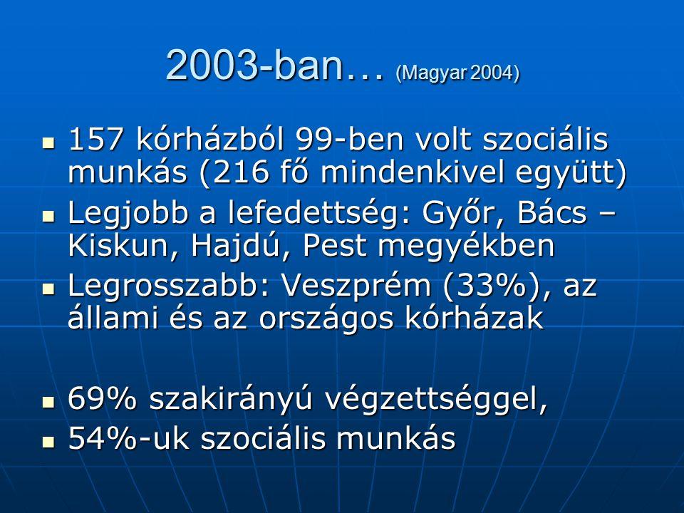 2003… 85% más munkakör mellett látja el a szociális munkát 85% más munkakör mellett látja el a szociális munkát 89%-nak az ápolási igazgató, vagy a kórházigazgató a munkáltatója 89%-nak az ápolási igazgató, vagy a kórházigazgató a munkáltatója 6,3%-uk dolgozott TEAM-ben 6,3%-uk dolgozott TEAM-ben 20% egyedül van 20% egyedül van A többiek dolgozhatnának együtt, de nem teszik….