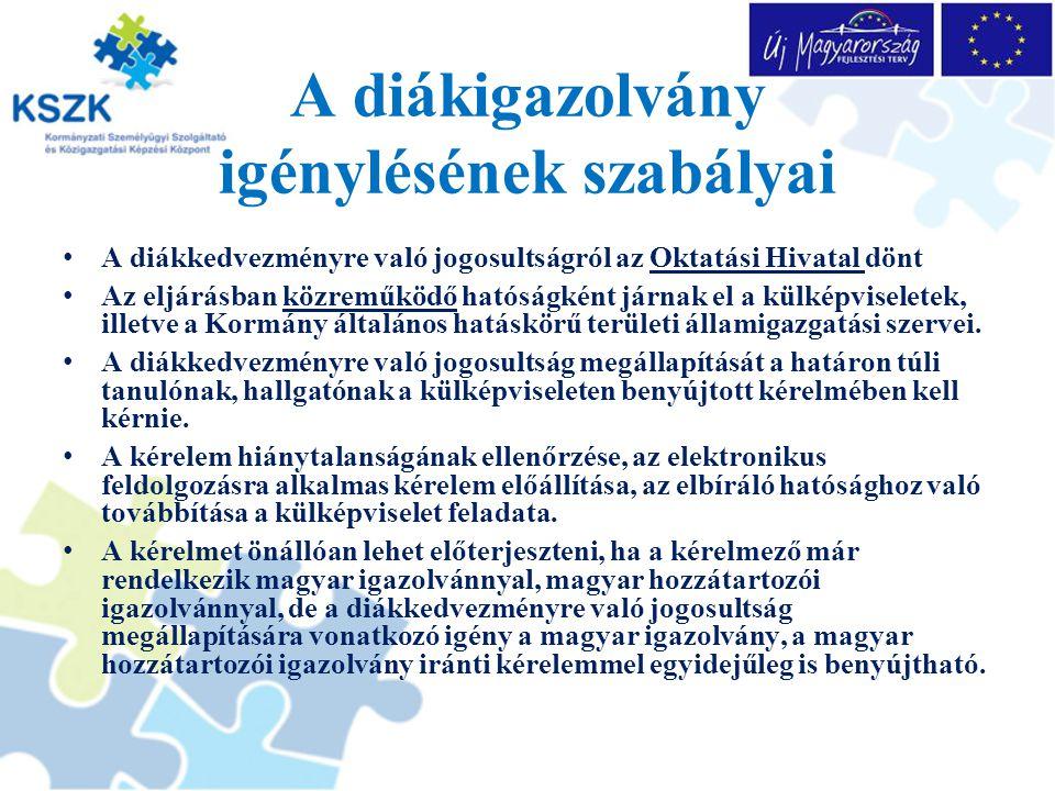 A diákigazolvány igénylésének szabályai A diákkedvezményre való jogosultságról az Oktatási Hivatal dönt Az eljárásban közreműködő hatóságként járnak el a külképviseletek, illetve a Kormány általános hatáskörű területi államigazgatási szervei.