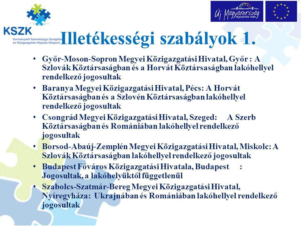 Illetékességi szabályok 1. Győr-Moson-Sopron Megyei Közigazgatási Hivatal, Győr : A Szlovák Köztársaságban és a Horvát Köztársaságban lakóhellyel rend