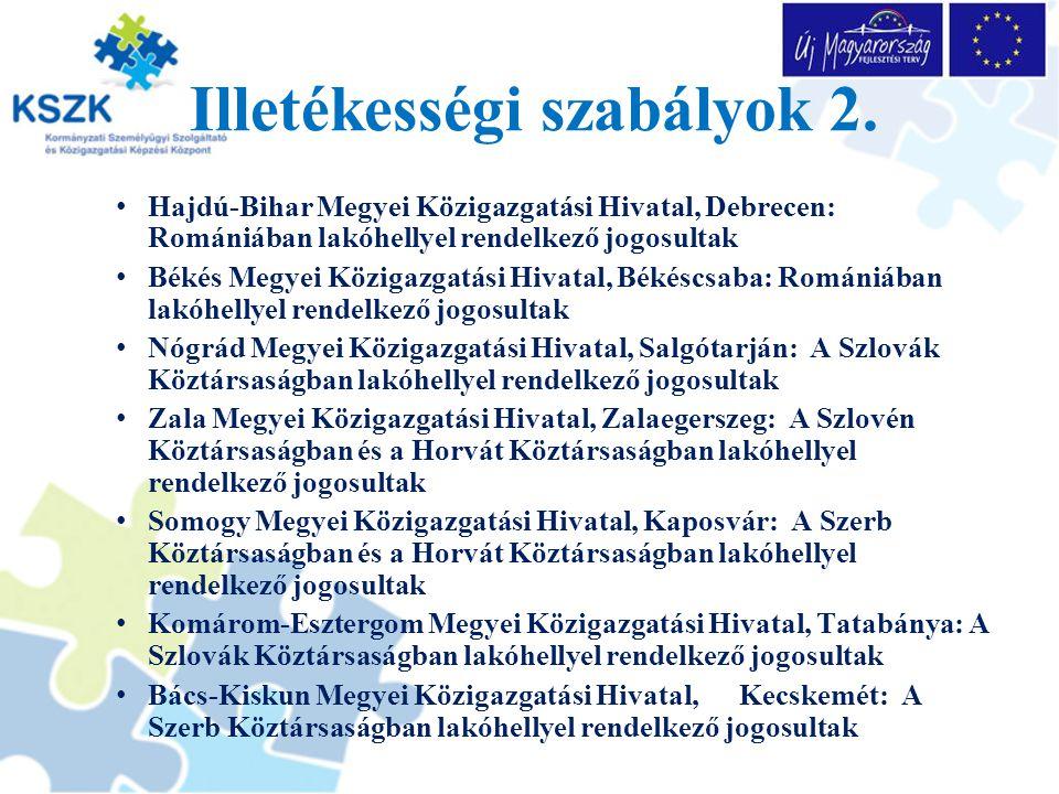 Illetékességi szabályok 2.
