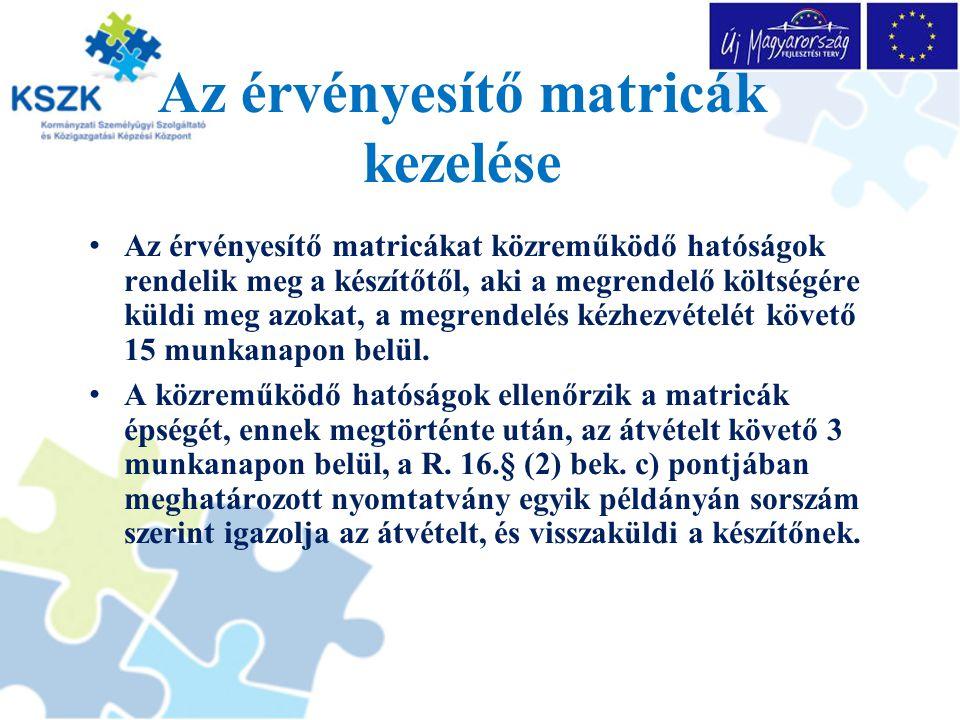 Az érvényesítő matricák kezelése Az érvényesítő matricákat közreműködő hatóságok rendelik meg a készítőtől, aki a megrendelő költségére küldi meg azokat, a megrendelés kézhezvételét követő 15 munkanapon belül.