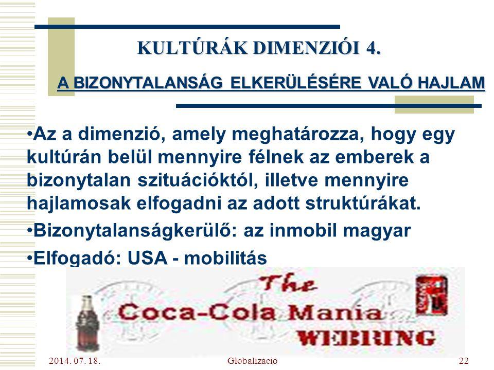 2014. 07. 18. Globalizáció22 KULTÚRÁK DIMENZIÓI 4. A BIZONYTALANSÁG ELKERÜLÉSÉRE VALÓ HAJLAM Az a dimenzió, amely meghatározza, hogy egy kultúrán belü