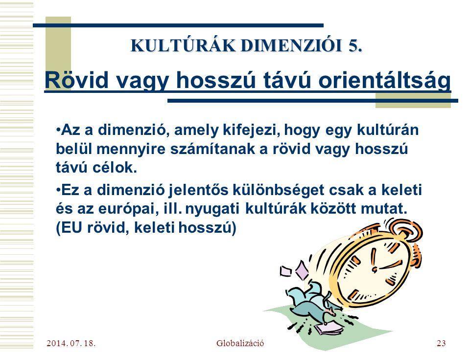 2014. 07. 18. Globalizáció23 KULTÚRÁK DIMENZIÓI 5. Rövid vagy hosszú távú orientáltság Az a dimenzió, amely kifejezi, hogy egy kultúrán belül mennyire