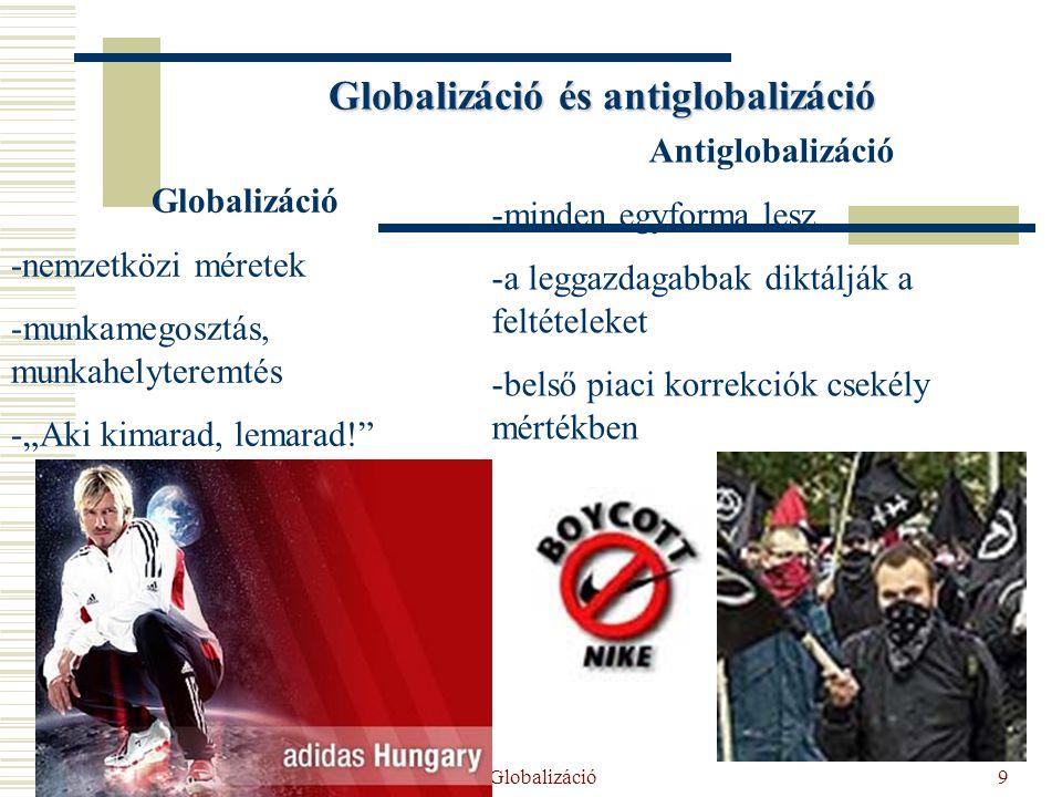 """2014. 07. 18. Globalizáció9 Globalizáció és antiglobalizáció Globalizáció -nemzetközi méretek -munkamegosztás, munkahelyteremtés -""""Aki kimarad, lemara"""