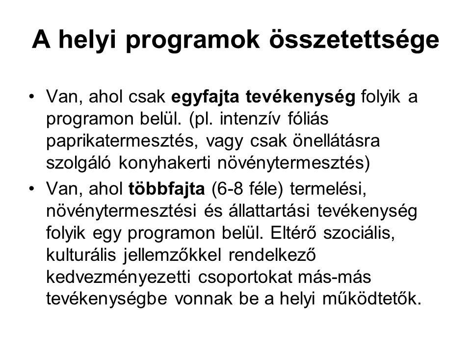 A helyi programok összetettsége Van, ahol csak egyfajta tevékenység folyik a programon belül. (pl. intenzív fóliás paprikatermesztés, vagy csak önellá