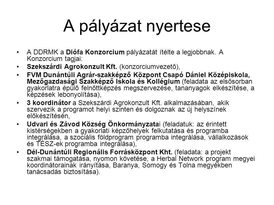 A pályázat nyertese A DDRMK a Diófa Konzorcium pályázatát ítélte a legjobbnak. A Konzorcium tagjai: Szekszárdi Agrokonzult Kft. (konzorciumvezető), FV