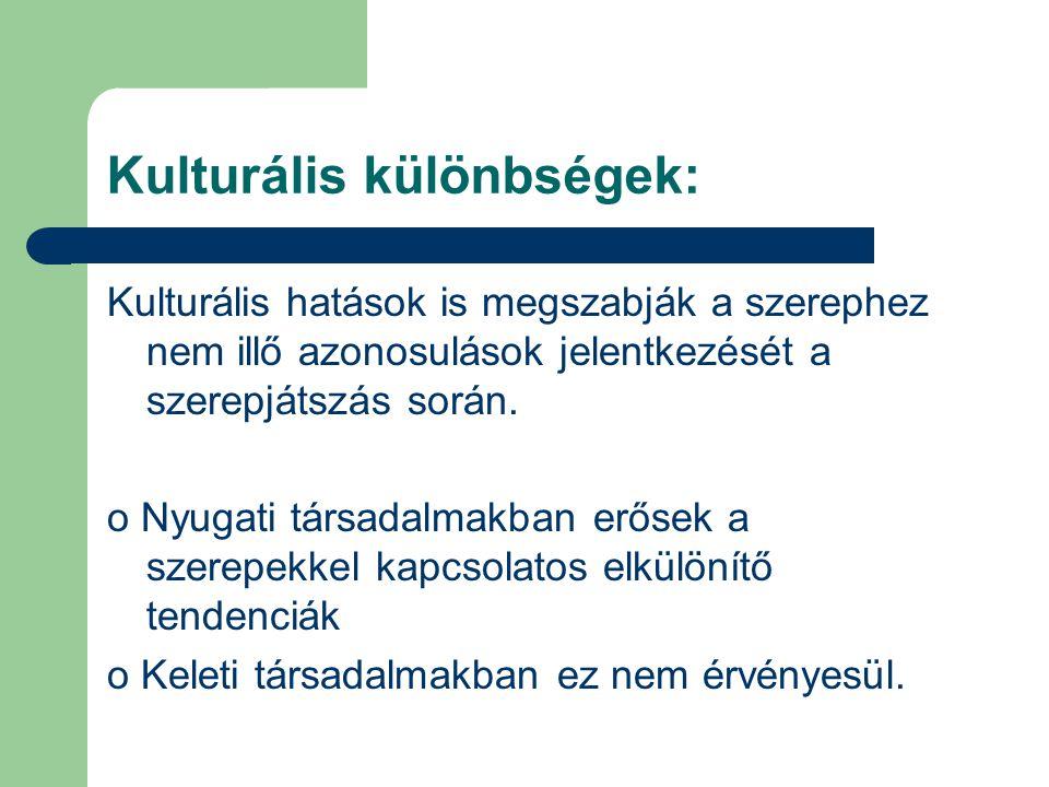Kulturális különbségek: Kulturális hatások is megszabják a szerephez nem illő azonosulások jelentkezését a szerepjátszás során. o Nyugati társadalmakb