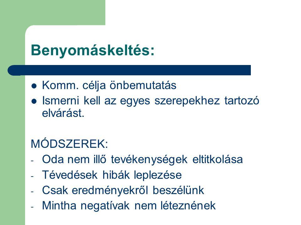 Taktikák Hízelgés (mot.eltitkolása) Vélemény és vis.