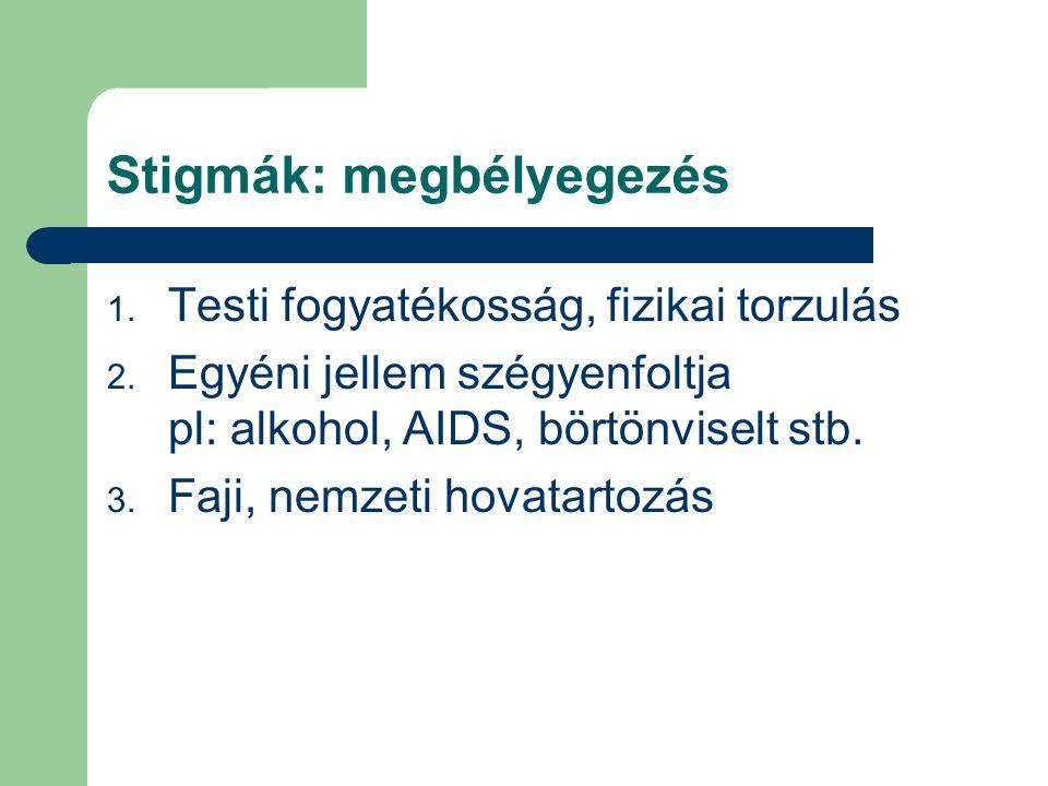 Stigmák: megbélyegezés 1. Testi fogyatékosság, fizikai torzulás 2. Egyéni jellem szégyenfoltja pl: alkohol, AIDS, börtönviselt stb. 3. Faji, nemzeti h