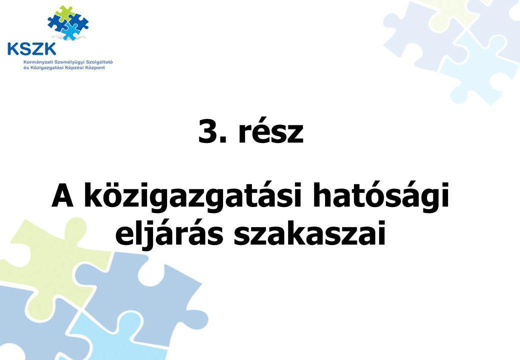 3. rész A közigazgatási hatósági eljárás szakaszai 13
