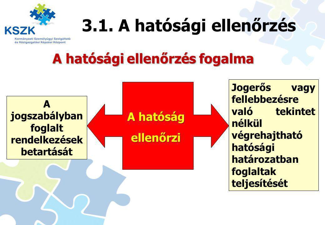 15 3.1. A hatósági ellenőrzés Jogerős vagy fellebbezésre való tekintet nélkül végrehajtható hatósági határozatban foglaltak teljesítését A jogszabályb