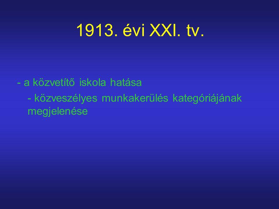 1913. évi XXI. tv. - a közvetítő iskola hatása - közveszélyes munkakerülés kategóriájának megjelenése