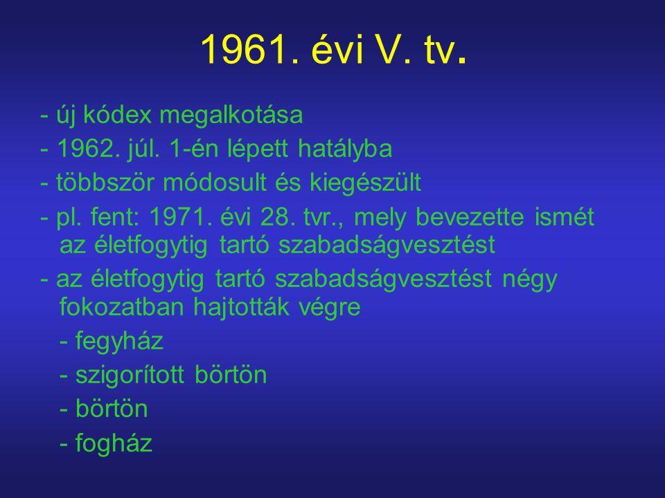 1961. évi V. tv. - új kódex megalkotása - 1962. júl. 1-én lépett hatályba - többször módosult és kiegészült - pl. fent: 1971. évi 28. tvr., mely bevez