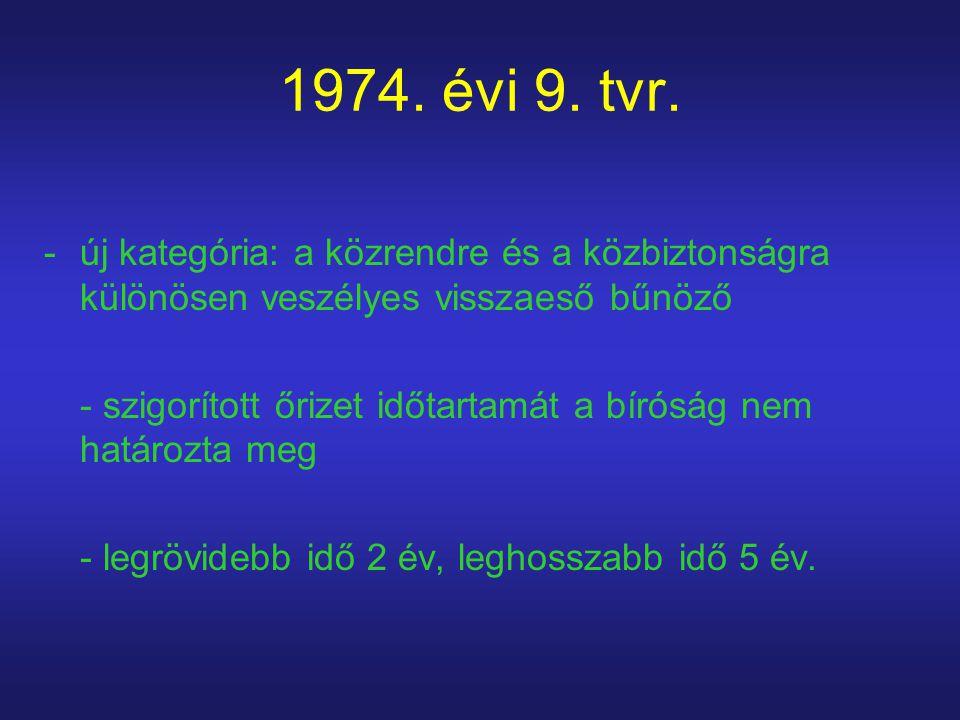 1974. évi 9. tvr. -új kategória: a közrendre és a közbiztonságra különösen veszélyes visszaeső bűnöző - szigorított őrizet időtartamát a bíróság nem h