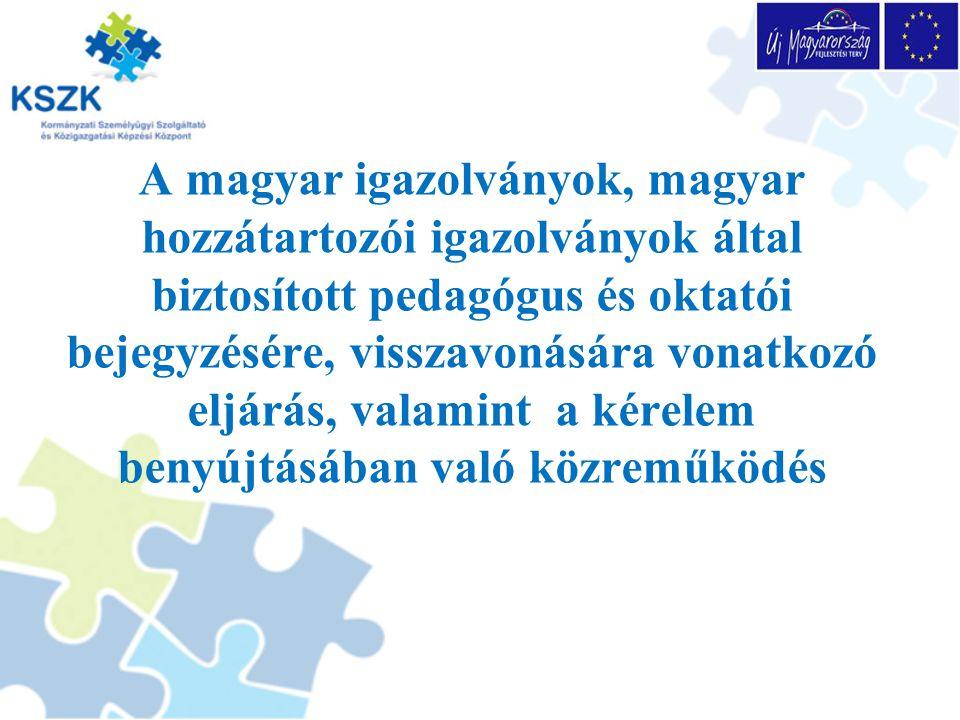 A magyar igazolvány, a pedagógus és oktatói kedvezményre jogosító igazolás átadása A jogosultságot a külképviselet vagy a közigazgatási hivatal jegyzi be a kérelmező magyar igazolványába, vagy pótfüzetébe.