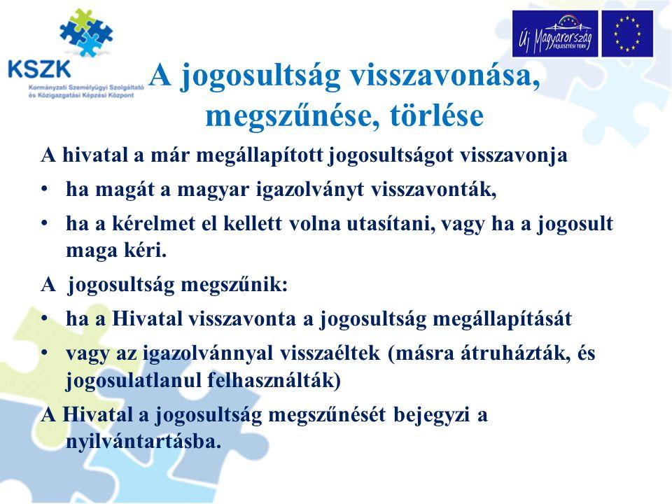 A jogosultság visszavonása, megszűnése, törlése A hivatal a már megállapított jogosultságot visszavonja ha magát a magyar igazolványt visszavonták, ha a kérelmet el kellett volna utasítani, vagy ha a jogosult maga kéri.