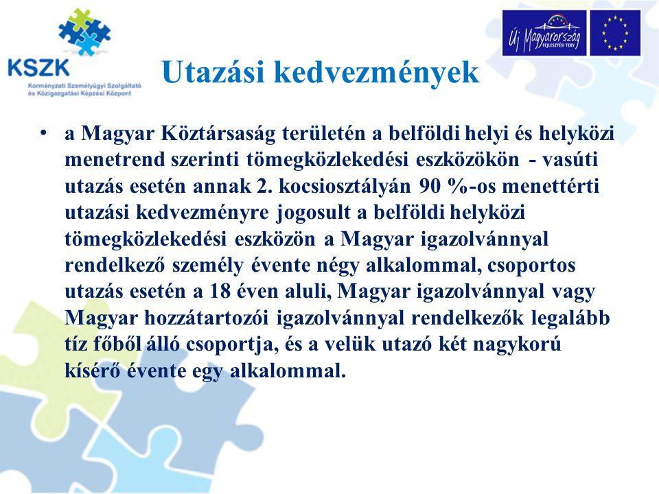 Utazási kedvezmények a Magyar Köztársaság területén a belföldi helyi és helyközi menetrend szerinti tömegközlekedési eszközökön - vasúti utazás esetén